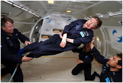 ALS sufferer, Professor Stephen Hawking, in zero gravity Photo credit: NASA