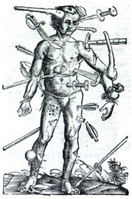 Wound Man from The Method of Curing Wounds made by Gun-shot